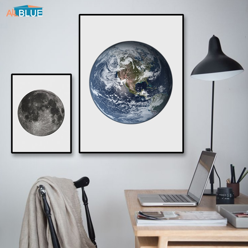 Terra lua quadros da lona arte da parede pintura da lona nórdico cartazes e cópias de parede para sala estar citação minimalista decoração