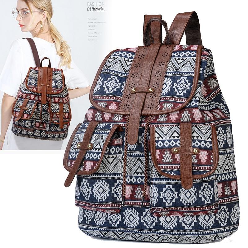 2019 Top Quality Boho Canvas Women Backpack Casual College Bookbag Female Thai Woven Retro Stylish Vintage Teen Girls School Bag