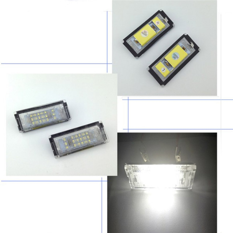 1 par de luces LED para luz LED de matrícula de coche, placa de matrícula de coche, luz de señal de la lámpara para BMW E46 4D (98-03) Estilo de coche