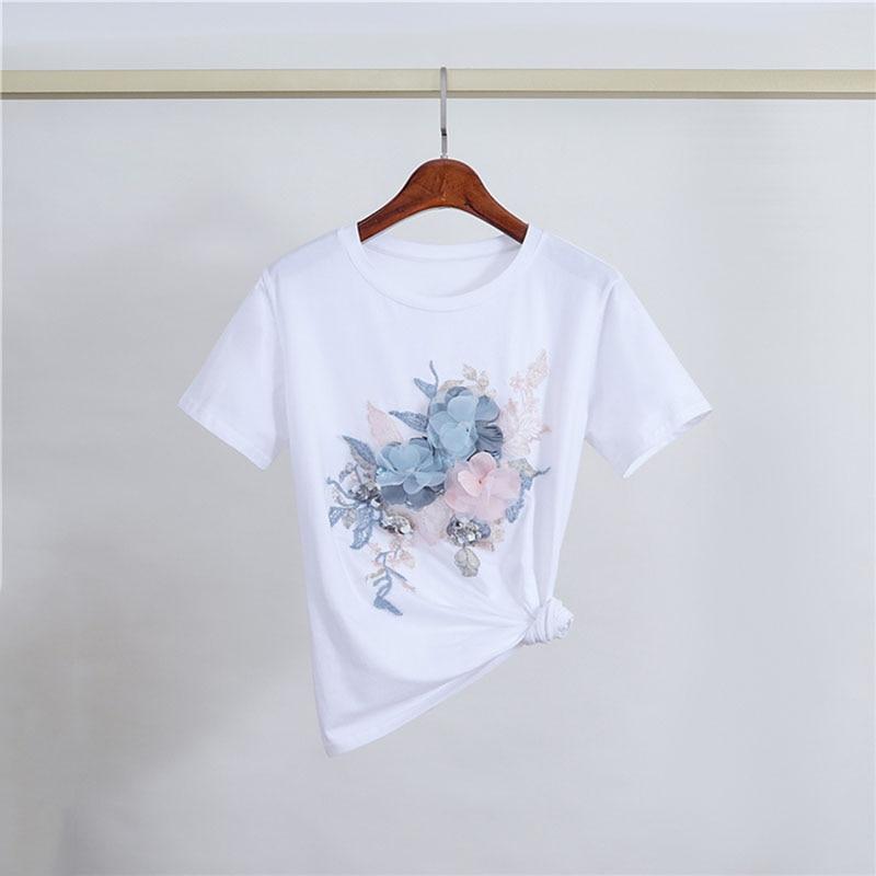 Moda feminina topos elegante o pescoço t camisas feminino 2020 flor bordado camiseta casual superior tamanho grande t S-2XL enviar dentro 12h
