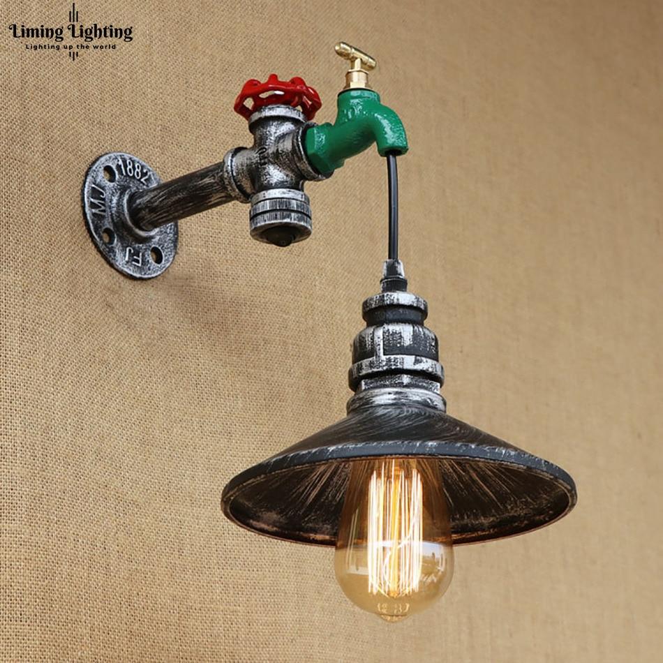 Retro hierro con interruptor Steampunk tubo de agua Vintage lámpara de pared para apartamento E27 110 V/220 V luces Led para dormitorio Sala Bar cama