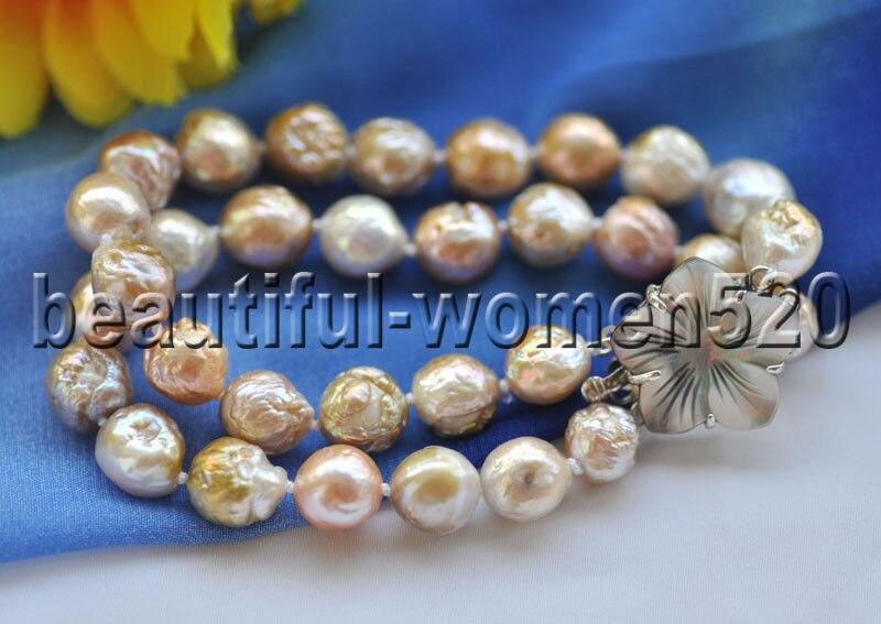 Z8953 2 Stränge 12mm Fast Runde Rosa-Lavendel Edison Perle Armband 8 zoll