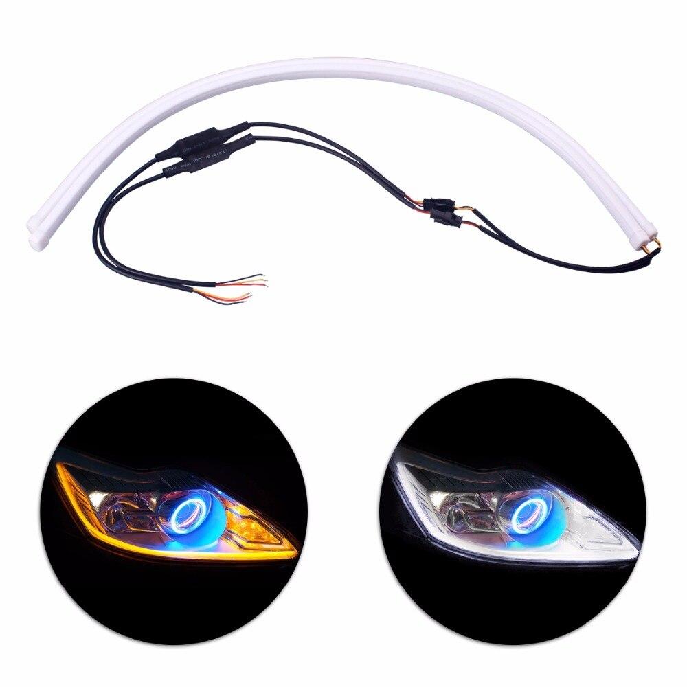 2 uds 60cm Amarillo Blanco Flexible suave tubo LED tira de luz diurna señal de giro Universal DRL Super brillante Angel Eye