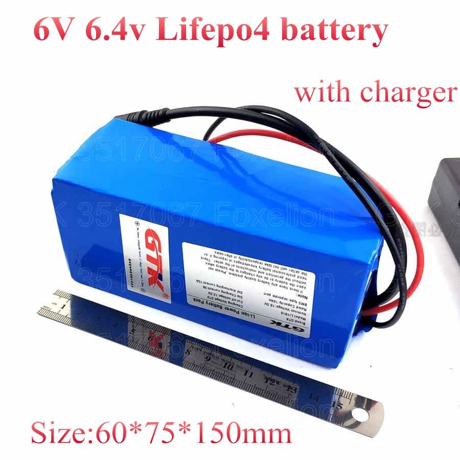 6 V 4.5AH batería Lifepo4 2 s 6Ah 6,4 v 8Ah 10Ah no ácido para la luz LED juguete coche de bebé juguetes RC largo ciclo de vida