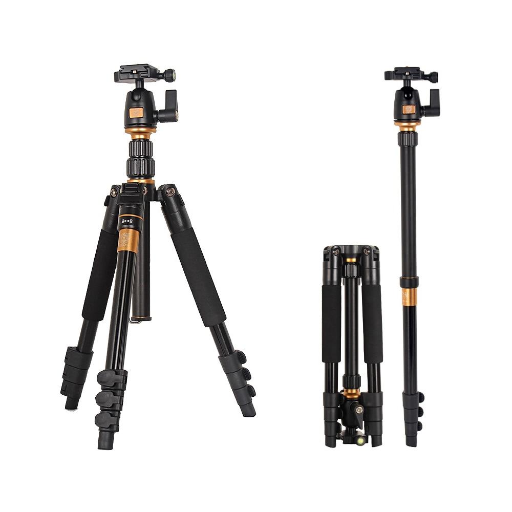 Nueva versión Q555 profesional aleación de aluminio magnesio portátil trípode plegable Kit para cámara SLR/se puede cambiar a Monopod