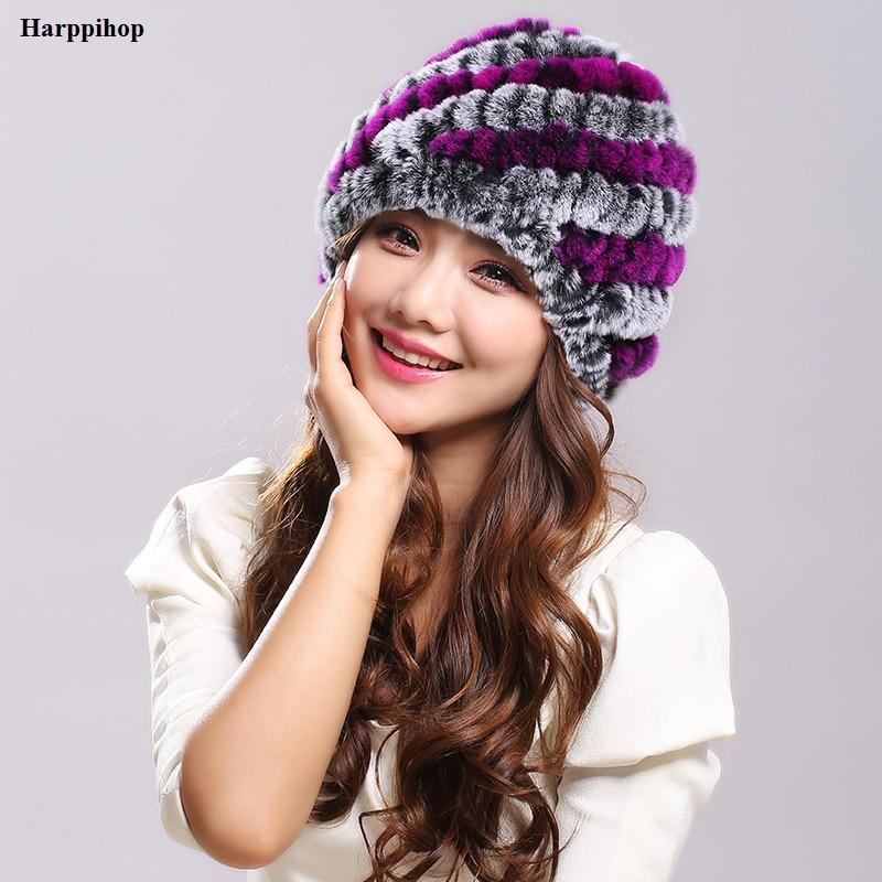Mulheres Genuine Malha Rex Rabbit Fur Chapéus TONFUR Tarja Natural Rex Rabbit Fur Caps lady inverno quente Headwear H-21101