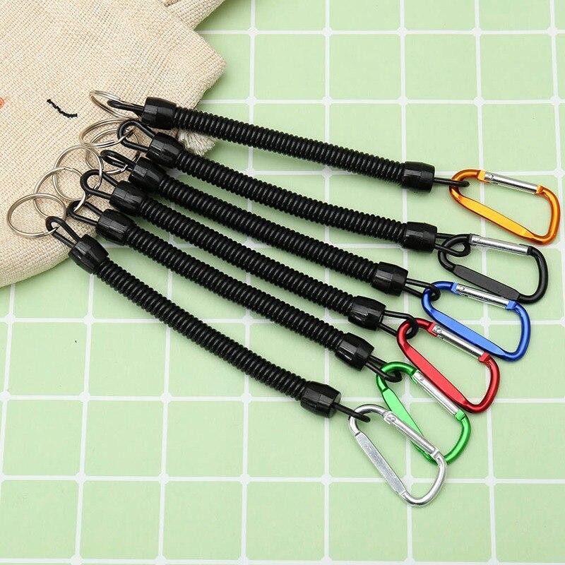 1 Uds. Práctico anillo de cuerda elástica de plástico retráctil herramientas de engranaje de seguridad de llave para Camping al aire libre Anti-Pérdida teléfono llavero de resorte