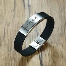 Bracelet en Silicone imperméable personnalisé didentification dacier inoxydable de gravure libre en noir pour le Bracelet en caoutchouc de forme physique de Sport dhommes