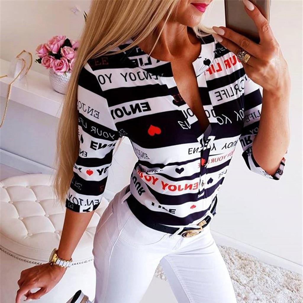 Mode 2019 Bluse Frauen V Neck Taste Druck Halbe Hülse Hemd Casual Frauen Sommer Tunika Tops Und Blusen Blusas