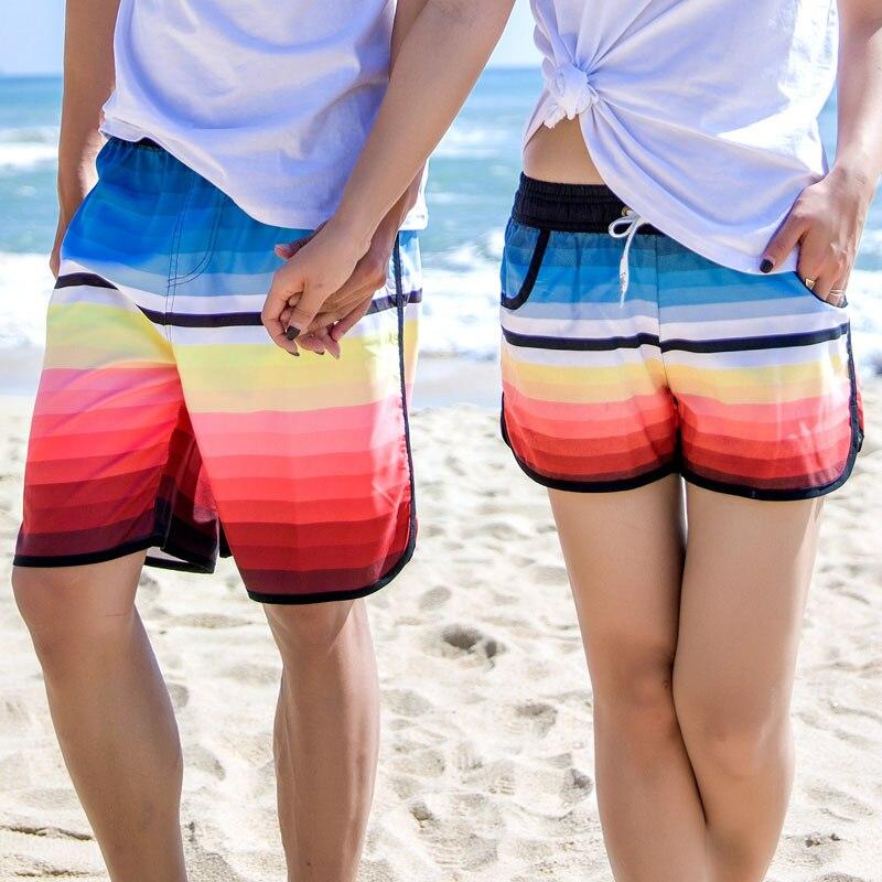 2018 verano moda pareja Shorts Hawaii Board Shorts amantes playa Arco Iris hombres/bañador para mujer bañador Swimshorts Bermudas