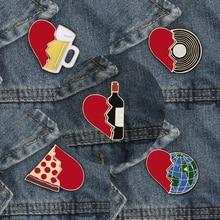 Emaille Pin set Gebroken Hart Wijnfles Aarde CD Pizza Bier Creatieve Broche en Pinnen Kleding Accessoires Cartoon Badge Sieraden