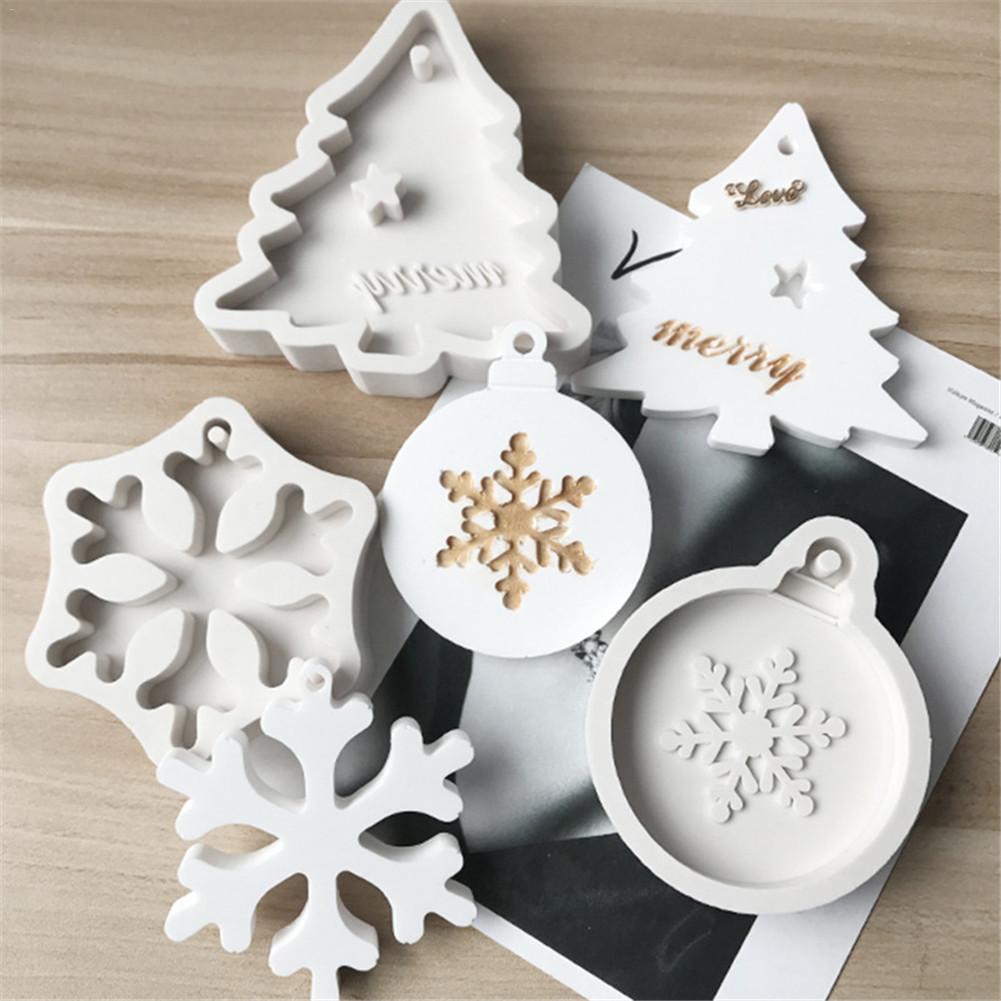 DIY, copos de nieve de Navidad, árbol de Navidad, molde de silicona líquida, Aroma de vela, molde de arcilla de yeso con agujero