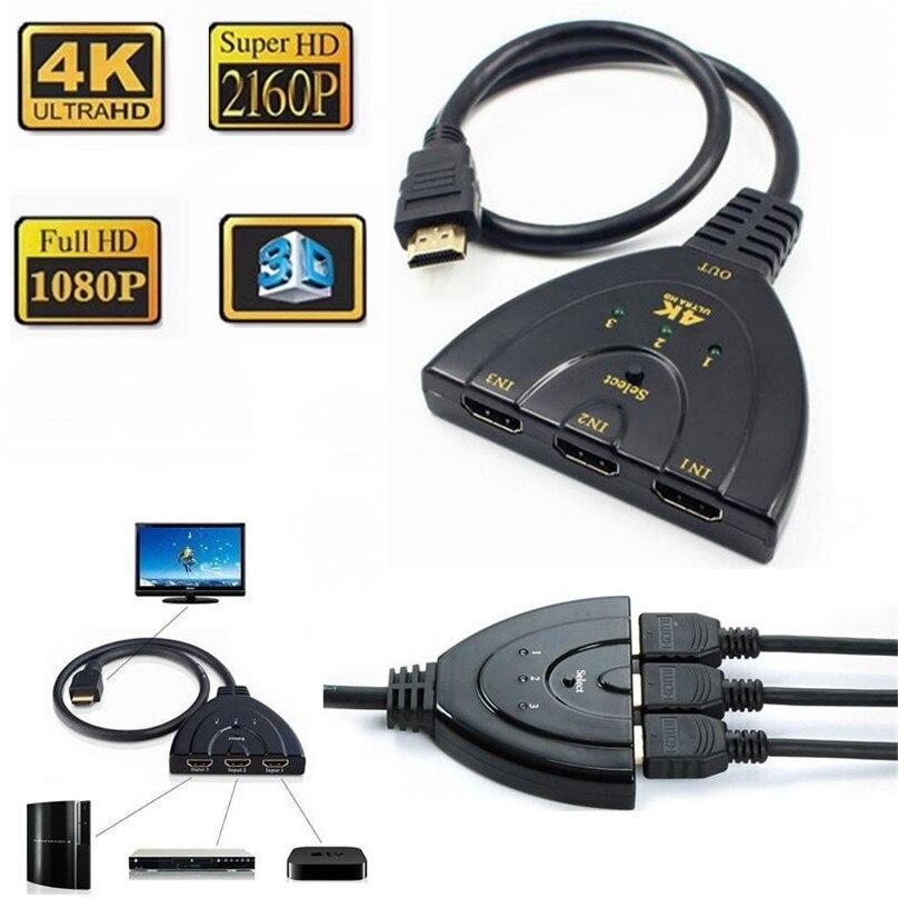 300pc 4K 3D 3 em 1 fora 3 Porta Pigtail HDMI Switch Splitter Switcher HDTV com Carregador USB cabo Pigtail 3x1 Auto Conversor de Cabo
