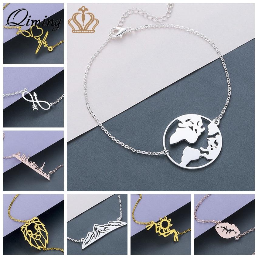 3 Color Women's Bracelets Bangles Punk Lion Sun Earth Infinity Magnetic fashion Chain Stainless Steel Bracelet Female Girls Gift