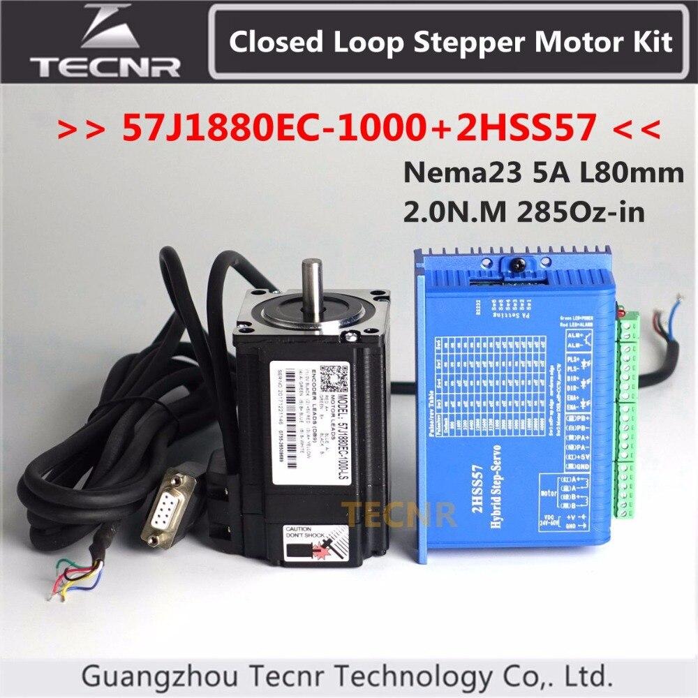 57j1880ec-1000 + 2hss57 nema23 hybird circuito fechado motor deslizante kit 2.0n. m 285oz-in 2 fase motorista de motor deslizante