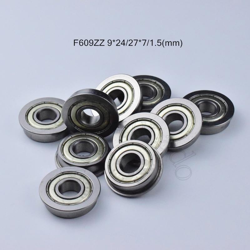 F609zz 9*24*27*7*1,5 (mm) 10 piezas de rodamiento de brida metal sellado ABEC-5...