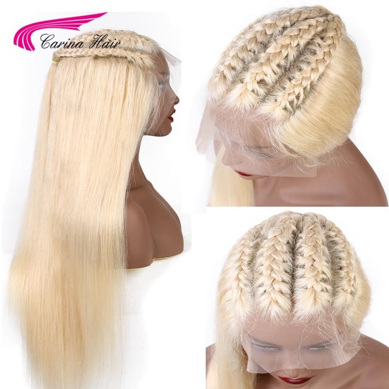 Carina 13x6 peluca Frontal de encaje cabello Remy 613 Rubio peluca con malla Frontal pelo humano liso brasileño 13x6 pelucas pre desplumado