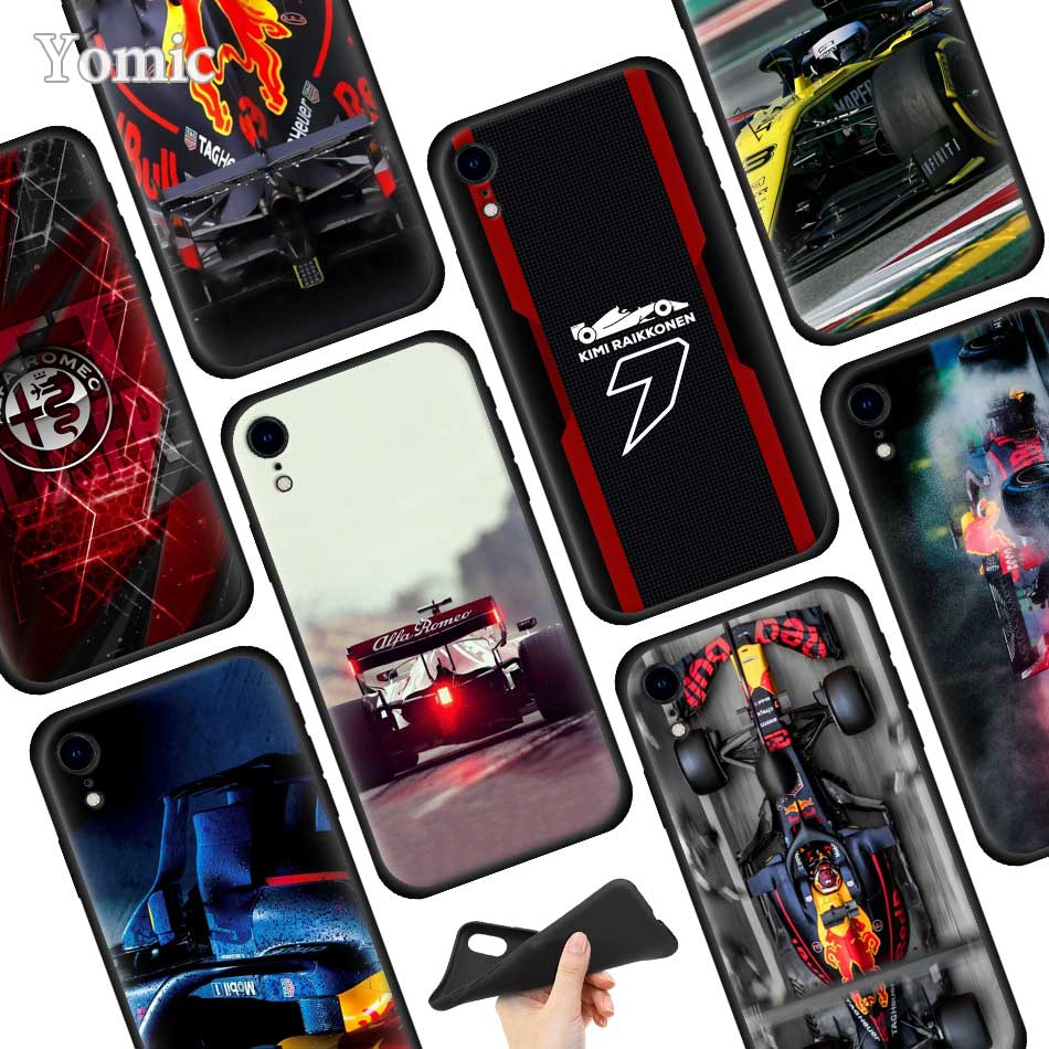 for Formula 1 Soft TPU Case for Apple iPhone 7 12 Mini 11 Pro 6 XR 8 6S Plus X XS MAX Black Silicon Mobile Phone Bag Cover Shell