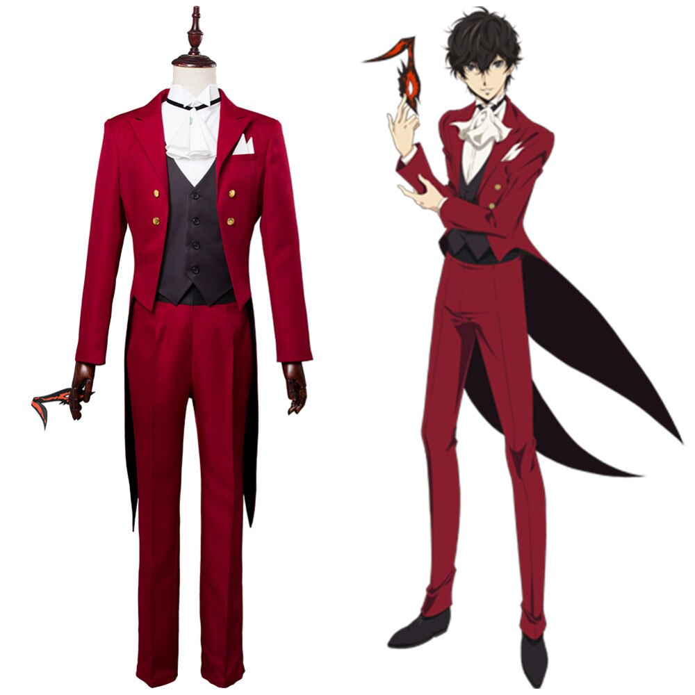 Persona 5 JOKER Kurusu Akira Amamiya Ren Cosplay traje rojo disfraz de fiesta de Halloween hombres adultos personalizable