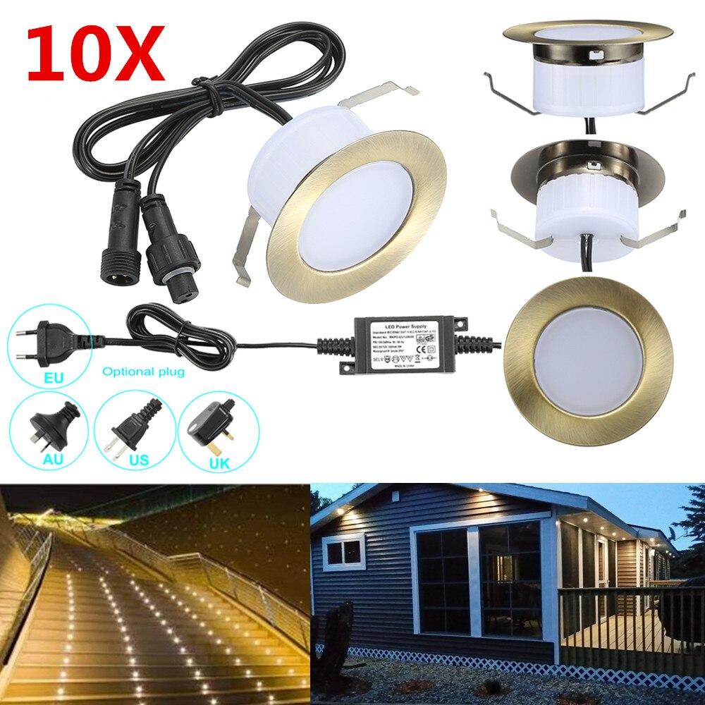 10 unids/lote 61mm 12V IP67 bronce cocina al aire libre terraza camino escalera escalón LED baraja empotrada luces de armario lámpara