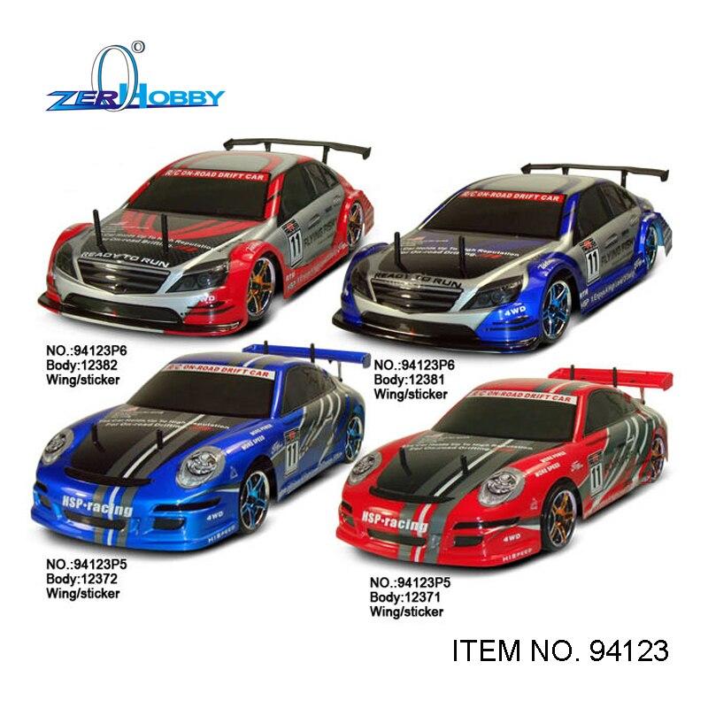Hsp juguetes del coche del rc coche escala 1/10 peces voladores 4x4 en el camino eléctrico cepillado motor batería incluida (código 94123)