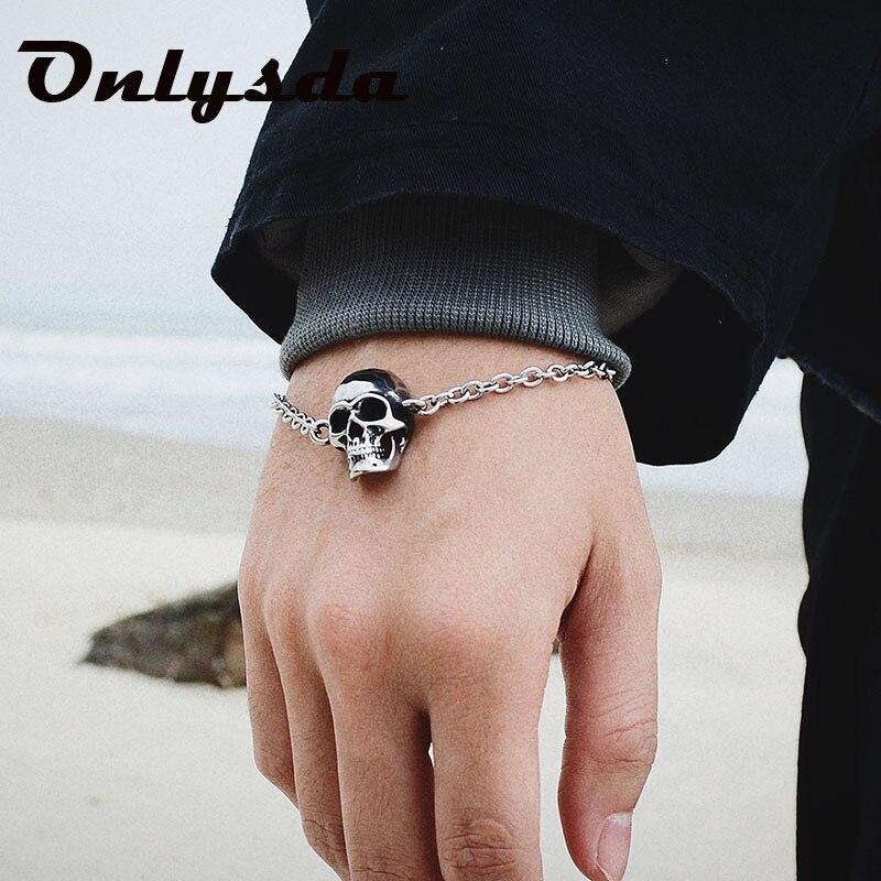 Cadena de eslabones de acero inoxidable Onlysda, pulsera de Calavera, para hombre, estilo gótico, motorista, pulseras del Calavera, joyería masculina