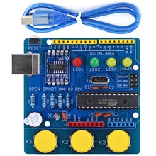 OPEN-SMART UNO R3 DIY ATmega328P Entwicklung Bord Modul CH340 Fahrer mit Summer LED-Taste für Arduino UNO R3 -blau