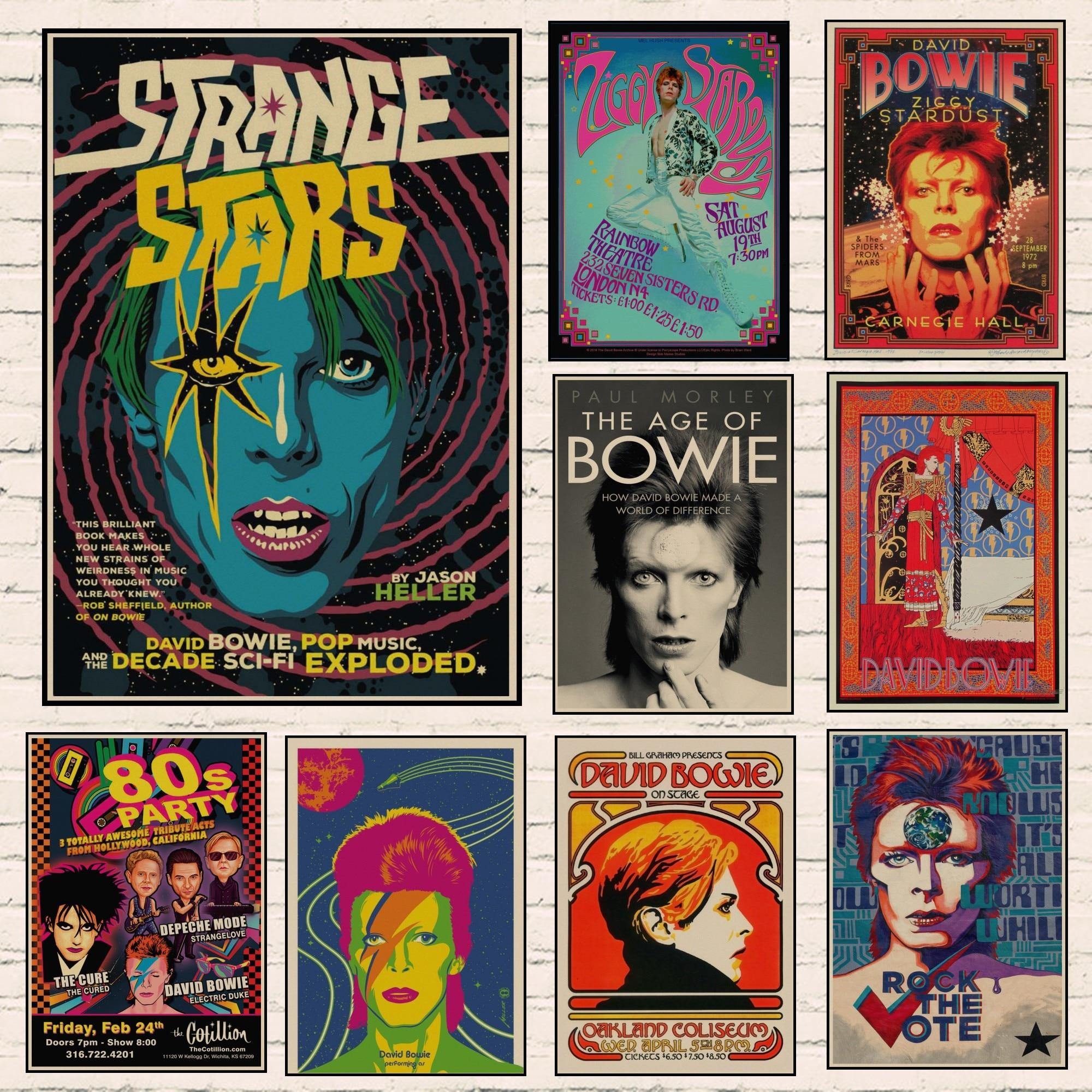 David Bowie постер Ретро винтажная рок-музыка крафт-бумага постеры рок-певица настенные наклейки кафе бар украшение комнаты настенный Декор A3