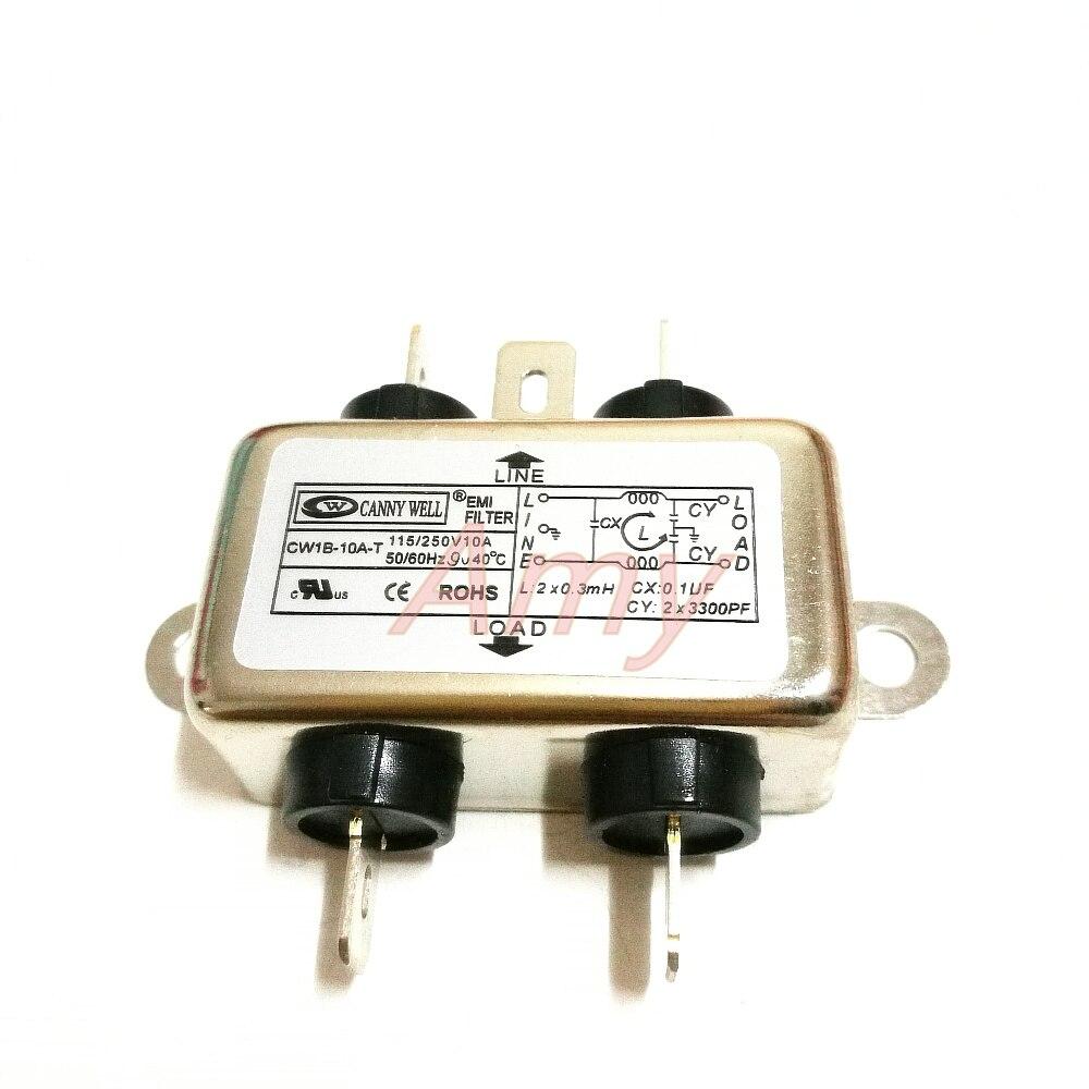 Фильтр электромагнитных помех CW1B 1A 3A 6A 10A AC T однофазный 220 В для очистки emi filter power