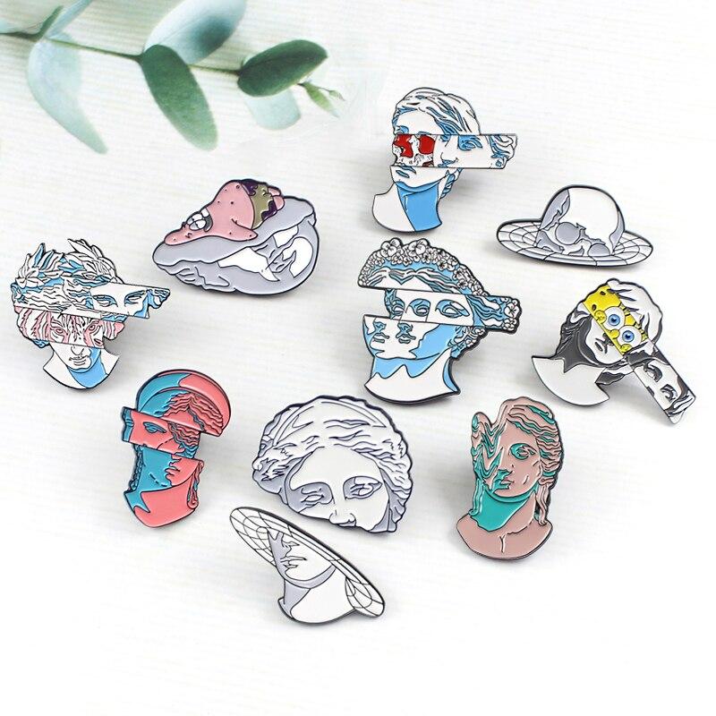 Creativa estatua de arte dividido broche de yeso de color cabeza Bob Esponja y Patricio Planet esmalte Pins regalo de insignia personalizado para artistas amigos