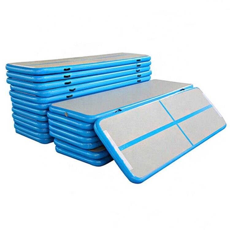 Colchoneta inflable de Color azul para gimnasio, Material de punto de cruz, colchoneta inflable para rebotar, alfombrilla de entrenamiento de tamaño pequeño, a la venta, suelo de aire barato
