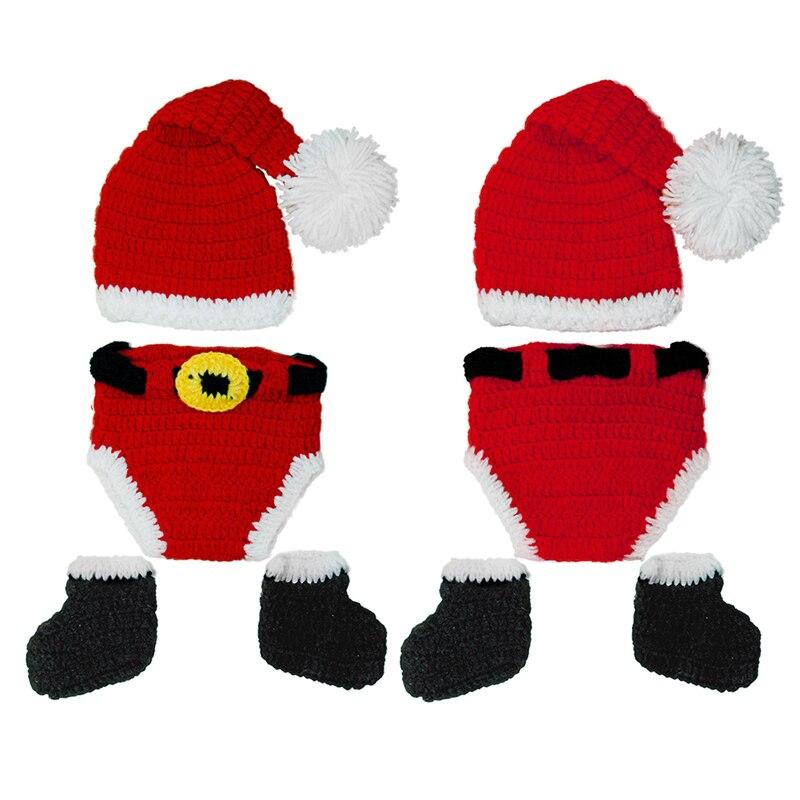 Gorros de bebé M89CChristmas, gorro tejido a mano, gorro de bebé hecho a mano, Otoño Invierno, negro, blanco, rojo