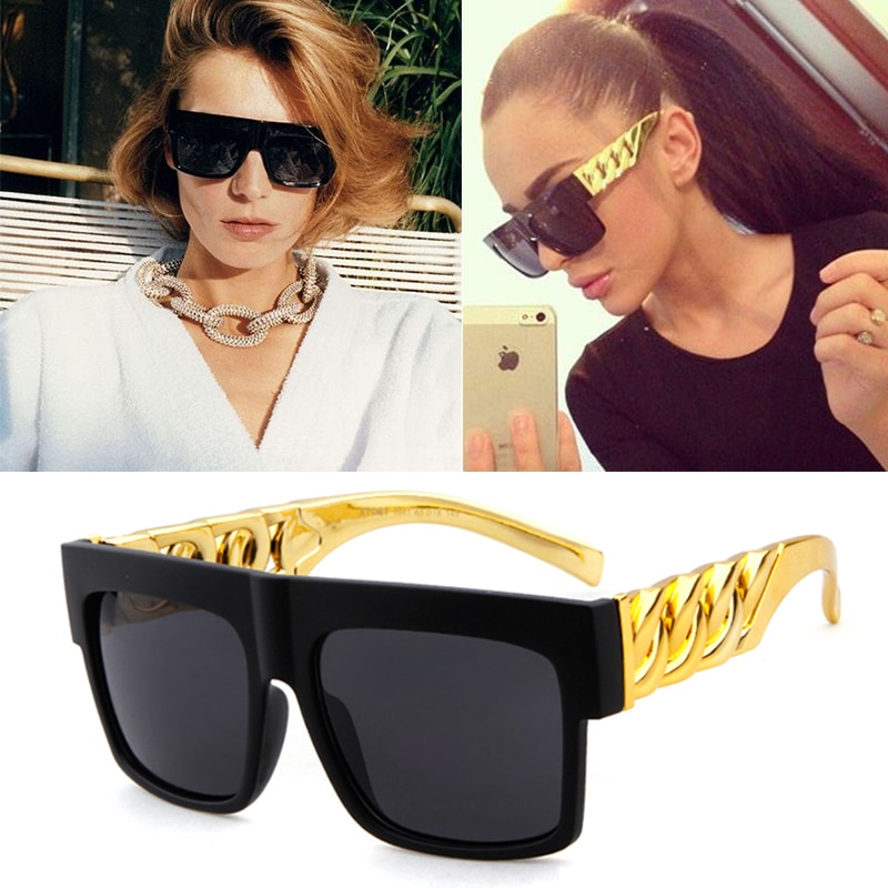 Fashion Gold Chain Kim Kardashian Beyonce Sunglasses Women Men Vintage Celebrity Hip Hop Sun Glasses Gafas De Sol UV400 Eyewears