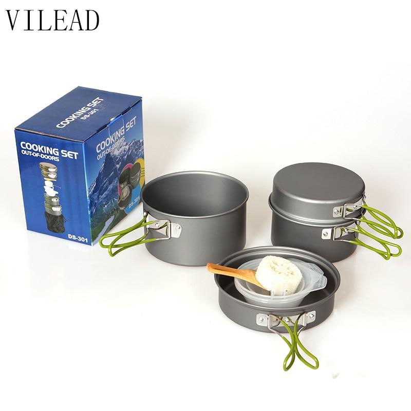 VILEAD, vajilla portátil para exteriores, óxido de aluminio, ollas de Camping, senderismo, ollas de cocina, 4 unids/set Picnic, barbacoa, utensilios de cocina para 2-3 personas