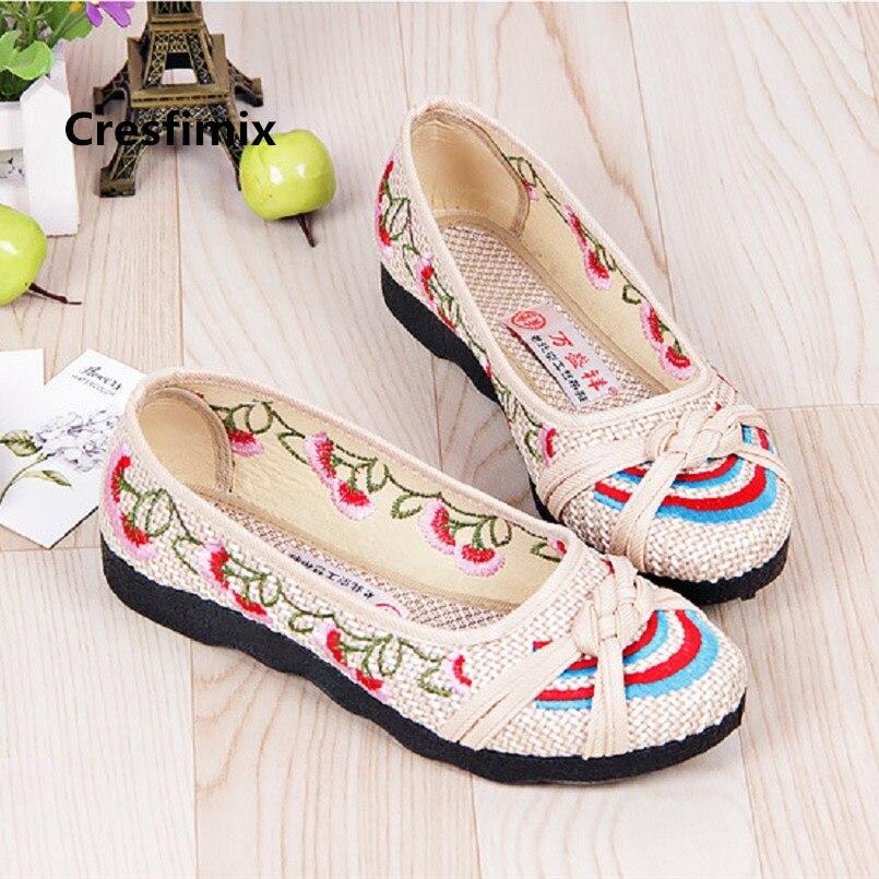 Cresfimix-Zapatos Planos De Mujer cómodos y adorables, calzado De baile marrón, C3569