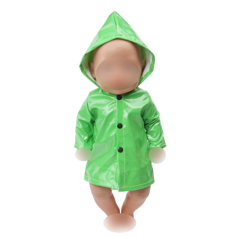 Ropa de muñeca Simple impermeable verde traje fit 43 cm muñecas de bebé 18 muñeca para niñas pulgadas accesorios de ropa f644