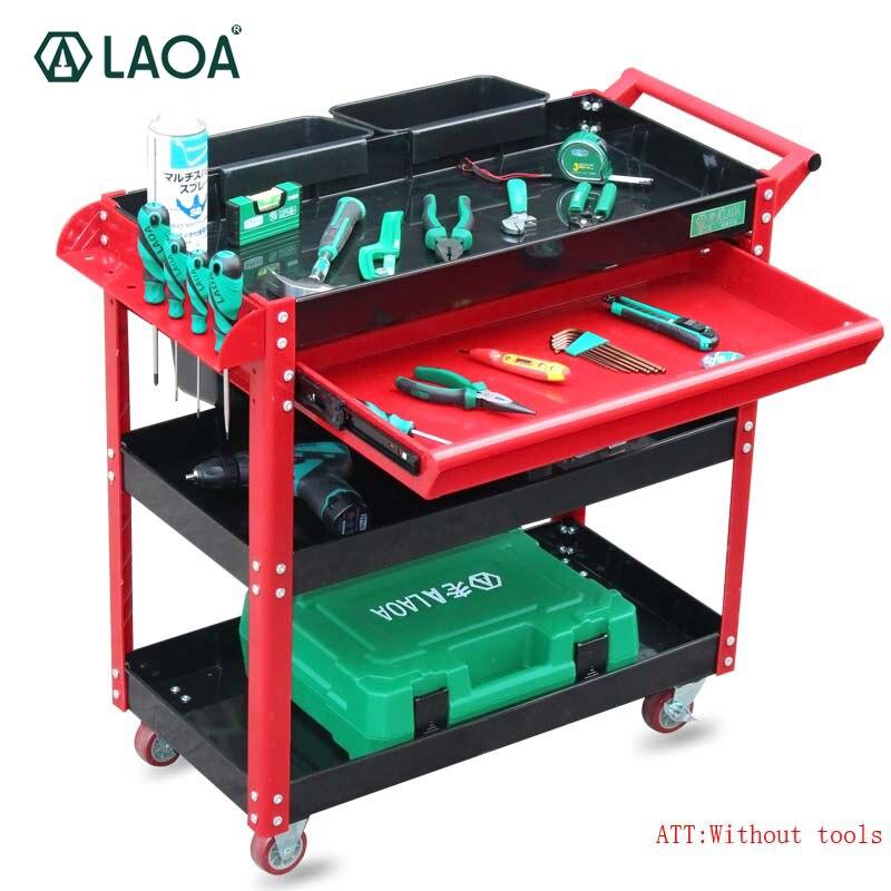 Carrito de herramientas LAOA, carro de reparación de 4 capas con ruedas, un cajón, taller, garaje, armario de metal para herramientas sin herramientas