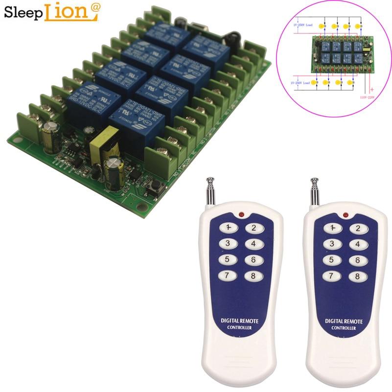 Sleeplion 110 V 8 CH ワイヤレスリモコン Led ライトスイッチ 220 V リレー出力ラジオ RF トランスミッタ 315/433 MHz 受信機
