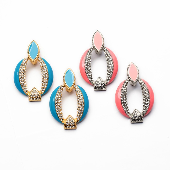 Top Statement Handcraft Jewelry Enamel Glass Zinc Alloy Unique Design Round Blue Pink Earring For Women