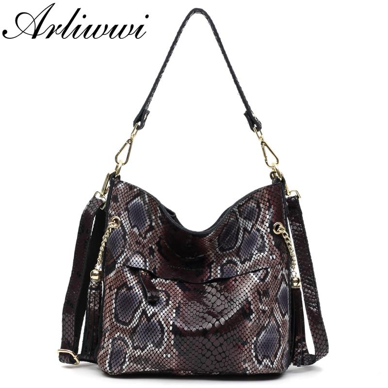 Arliwwi Sexy Boa Pattern Embossed 100% Real Leather Lady Crossbody Handbags Designer Tassel Women Genuine Cowhide Totes Bag GL03