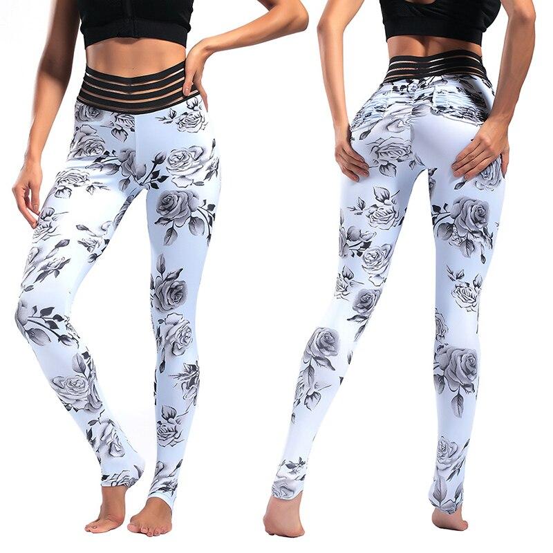 Impressão Floral Calças de Yoga Workout Bundas Scrunch Sexy Leggings Mulheres Calças De Fitness 2019 Verão Calças de Cintura Alta Leggings Sem Costura