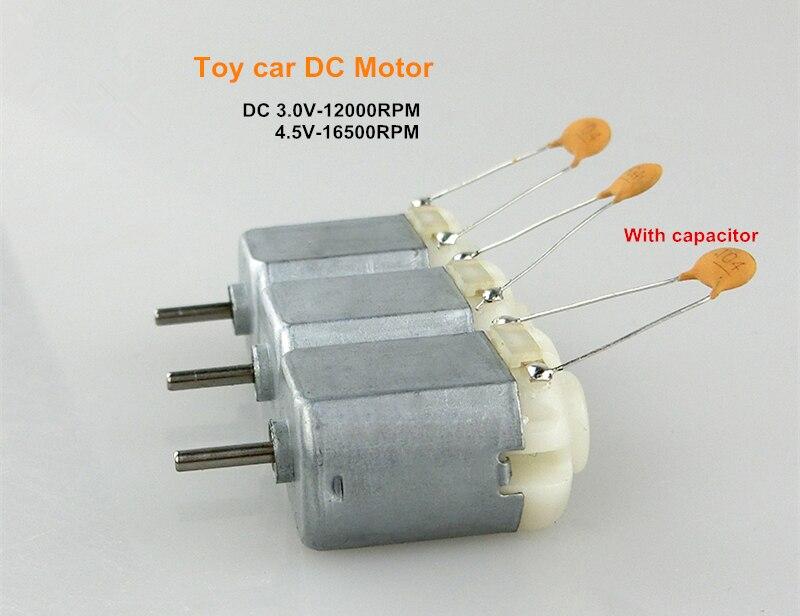 Motor de corriente continua para coche de juguete con condensador 3 unids/set CC 3,0 V 12000RPM 4,5 V 16500RPM 3V a 6V