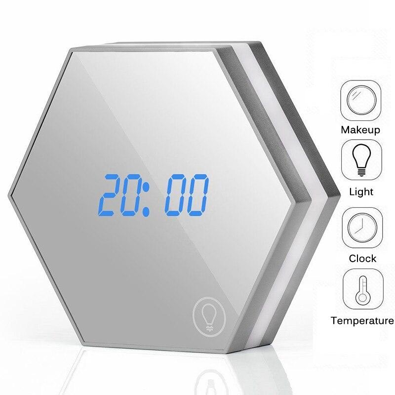 Цифровые настенные часы-будильник Современный дизайн зеркальные светодиодные часы Повтор Пробуждение свет Сенсорное чувство настольные ч...