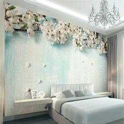Beibehang personalizado foto papel de parede 3d fresco europeu simples azul árvore sakura fundo da parede mural