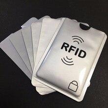 100 pièces imprimé Anti-vol porte-carte de crédit avec porte-passeport logo aluminium RFID blocage manchon protéger votre argent et votre ID