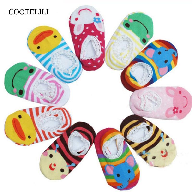 5pcs Lace Baby Socks With Rubber Soles Rabbit Frog Durk Anti Slip Socks Baby Girls Clothing Infant Newborn Animals Sneaker Socks