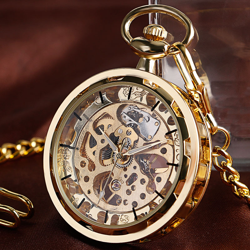 Vintage Watch Necklace Steampunk Skeleton Mechanical Fob Pocket Watch Clock Pendant Hand-winding Men