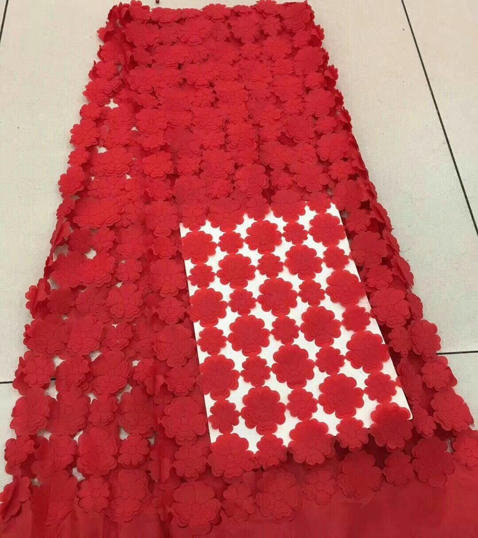 Hermosa tela de encaje Africana roja, encaje nigeriano de alta calidad, flores 3d bordadas, tela de tul de encaje de boda FJ22151