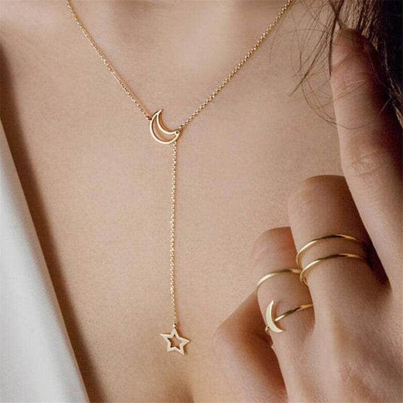 Mais quente moda casual personalidade infinity cruz lariat estrela lua cor de ouro & prata chapeado gargantilhas colar feminino jóias 2019
