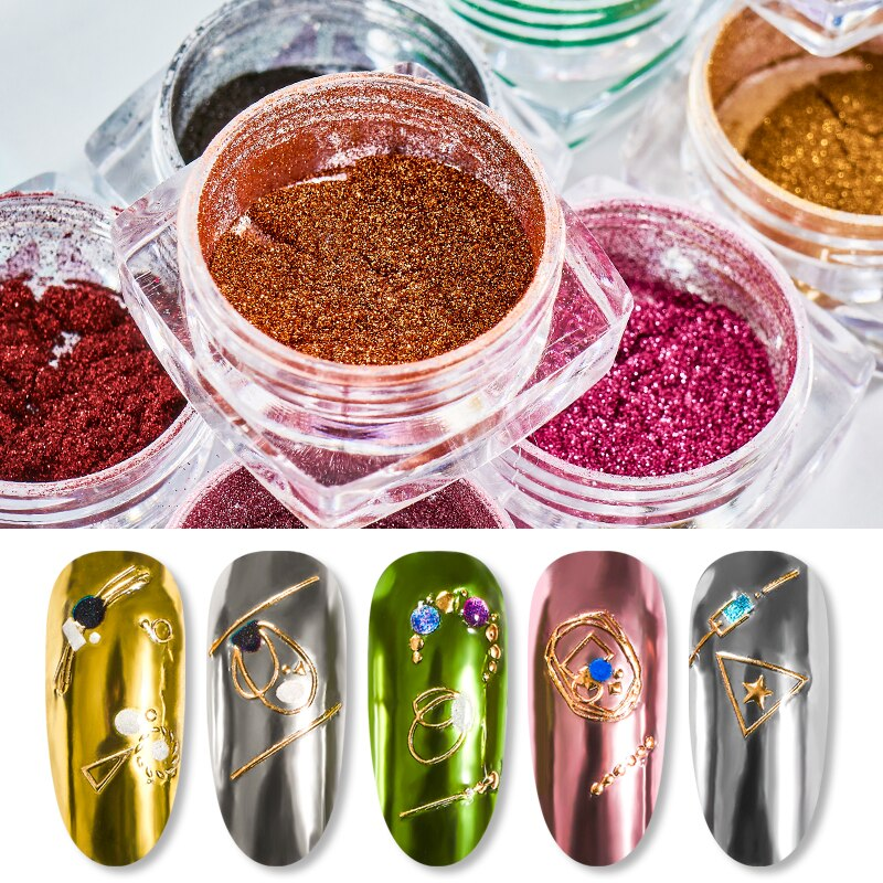RBAN NAIL Mirror Nail Art Glitter Powder Holographic Metallic Rose Gold Sliver Dust Sequins UV Gel Nail Chrome Pigment Decoratio